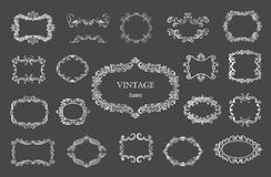 Set of silver vintage floral frames and monograms. Vector decorative borders Royalty Free Stock Images