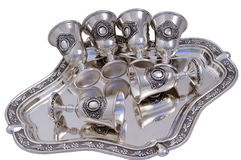 Set of silver wine-glasses. Stock Photo