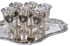 Set of silver wine-glasses. Stock Image