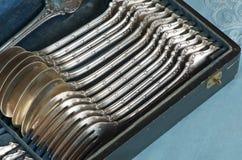 set silverware för antikvitet Fotografering för Bildbyråer