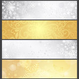 Set silvery and golden gradient winter banners Royalty Free Stock Photography