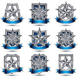 Set of silvery heraldic 3d glossy icons Stock Photos