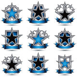 Set of silvery heraldic 3d glossy icons with curvy ribbons, best. For use in web and graphic design, pentagonal silver stars, clear EPS 8 vector luxury symbols Stock Images