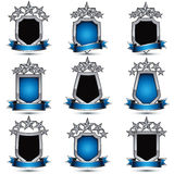 Set of silvery heraldic 3d glossy icons with curvy ribbons, best. For use in web and graphic design, pentagonal silver stars, clear EPS 8 vector luxury symbols Stock Photo