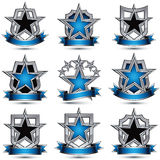 Set of silvery heraldic 3d glossy icons with curvy ribbons, best. For use in web and graphic design, pentagonal silver stars, clear EPS 8 vector luxury symbols Stock Image