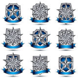 Set of silvery heraldic 3d glossy icons. With curvy ribbons, best for use in web and graphic design, pentagonal silver stars, clear EPS 8 vector luxury symbols Stock Images