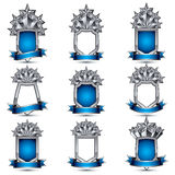 Set of silvery heraldic 3d glossy icons with curvy ribbons, best Stock Photos