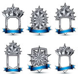 Set of silvery heraldic 3d glossy icons with curvy ribbons, best. For use in web and graphic design, pentagonal silver stars, clear EPS 8 vector luxury symbols Royalty Free Stock Image
