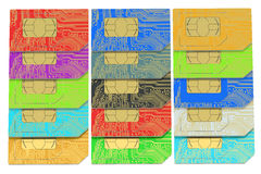 Set of SIM cards 3D. On white background royalty free illustration