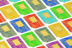 Set of SIM cards 3D. Set of SIM cards on white background royalty free illustration