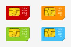 Set of SIM Cards of Different Colors. Phone Chip. Realistic Vector Icon. Isolated. Obgect on Background vector illustration