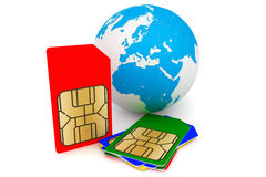 Set of SIM cards with earth. Set of color SIM cards with earth on a white background Royalty Free Stock Image
