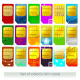 Set of sim cards. Vector set of colrorful sim cards stock illustration