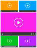 Set of 5 simple abstract icons of video player. Royalty Free Stock Photography