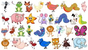 Set of simple animal character. Illustration vector illustration