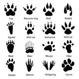 Set of simple animals paw prints icons Royalty Free Stock Photo