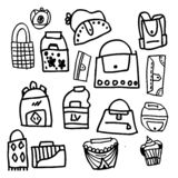 A set of simple bag designs with doodle style, drawn for children and can be used for background and element design, designed for stock illustration