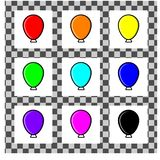 A set of simple balloons of different colors in flat style. Each individual is isolated on a white background. Simple highlights stock illustration