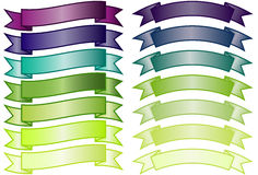 Set of simple Banners. Set of basic non-glossy banners in purple, blue and green gradients Stock Photography