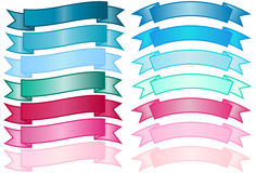 Set of simple Banners. Set of basic non-glossy banners in blue, aqua and pink gradients Stock Image