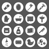Set of simple bathroom icons Stock Photos