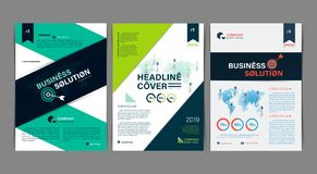 Set of Simple Business flyer Brochure flat design template. A4 cover publication. Vector illustration stock illustration
