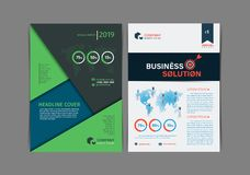Set of Simple Business flyer Brochure flat design template. A4 cover publication. Vector illustration royalty free illustration