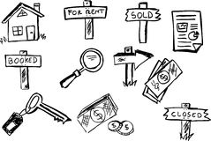Set of simple Business property symbols. Isolated on white Stock Photos
