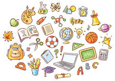 Set of Simple Cartoon School Things Stock Photos