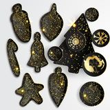 Set of Simple  christmas elements with black paper tree, balls and snowflakes in gold style Stock Photography