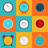Set of simple clock icons. Royalty Free Stock Image
