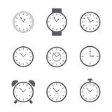 Set of simple clock icons. Stock Photography