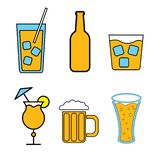 Set of simple color icons of alcoholic drinks for bar, cafe: cocktails, glasses, beer, bottles, whiskey on a white background. Vector illustration vector illustration