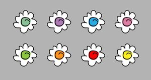 Set of simple color vector chamomiles. child`s drawing. little cute flowers for design royalty free illustration