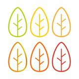 Set of simple colorful autumn leaves, flat vector icons royalty free illustration