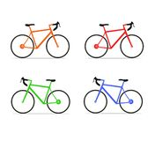 Set of simple colorful bicycle icons royalty free illustration