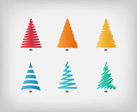 Set of simple colorful vector Christmas trees Stock Photography