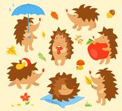 Set of simple cute hedgehogs Royalty Free Stock Images