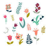 Set of simple cute plants and flowers Stock Photos