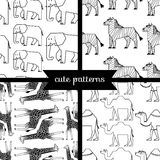 Set of simple cute seamless patterns, african animals Stock Photo