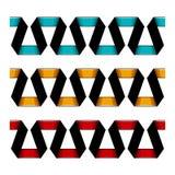 Set of decorative spiral ribbons borders. Vector illustration. stock illustration