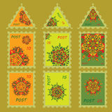 Set simple design for postage stamps with hand drawn mandalas zentangl in different colors Stock Photos