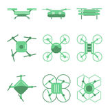 Set of simple different drones on isolated background Royalty Free Stock Photo