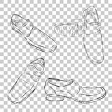 Set simple doodle black outline of formal man shoes, at transparent effect background. Vector set simple doodle black outline of formal man shoes, at transparent Royalty Free Stock Photos