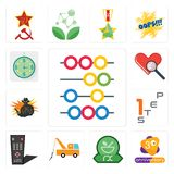 Set of abacus, 3rd anniversary, pharmacy, tow truck, tv remote, step 1, outlaw, cholesterol, estimate icons. Set Of 13 simple editable icons such as abacus, 3rd Royalty Free Stock Image