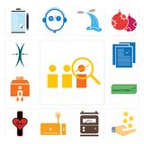 Set of advisor, customer experience, electric meter, set top box, tracker, adaptability, bank branch, specification, elastic icons. Set Of 13 simple editable Stock Photos