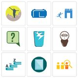 Set Of 9 simple editable icons such as advisor, specification, vocabulary. Electric meter, broken glass, inquiry, join us, vr headset, hiker, can be used for Royalty Free Stock Photos