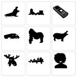 Set Of 9 simple editable icons such as afro, arkansas, moose head. Hippo, gorilla, semi truck, cell phone, montana, can be used for mobile, web Royalty Free Stock Image