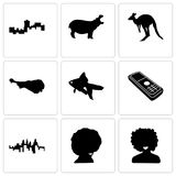 Set Of 9 simple editable icons such as afro, pennsylvania state. Cell phone, goldfish, turkey leg, kangaroo, hippo, montana, can be used for mobile, web Royalty Free Stock Photo