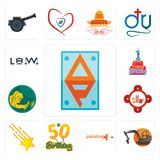 Set of ap, digger, painting company, 50th birthday, shooting stars, fire station, welder, 1st law icons. Set Of 13 simple editable icons such as ap, digger Royalty Free Stock Photography